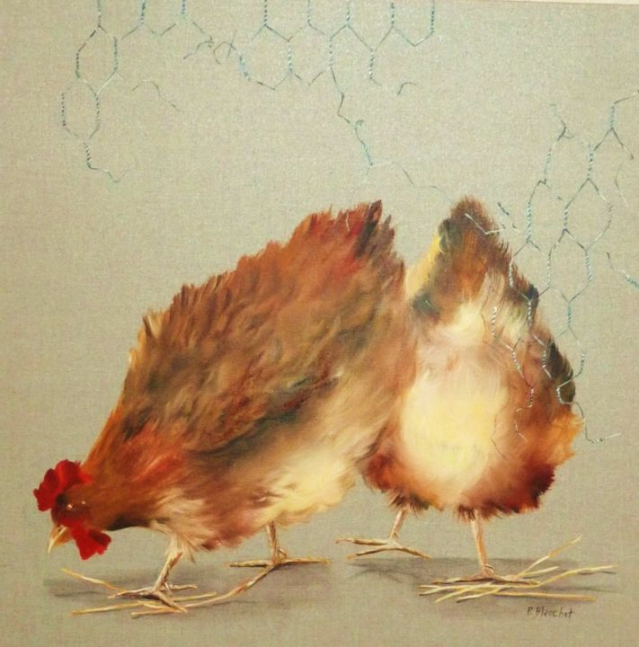 poules - Painting, ©2013 by Patricia Blanchet -