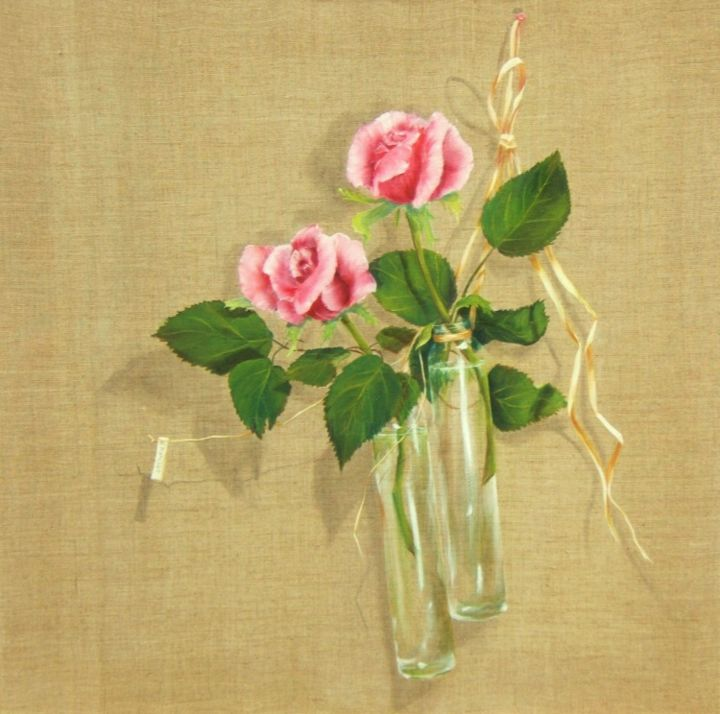 roses et vase - Painting, ©2013 by Patricia Blanchet -