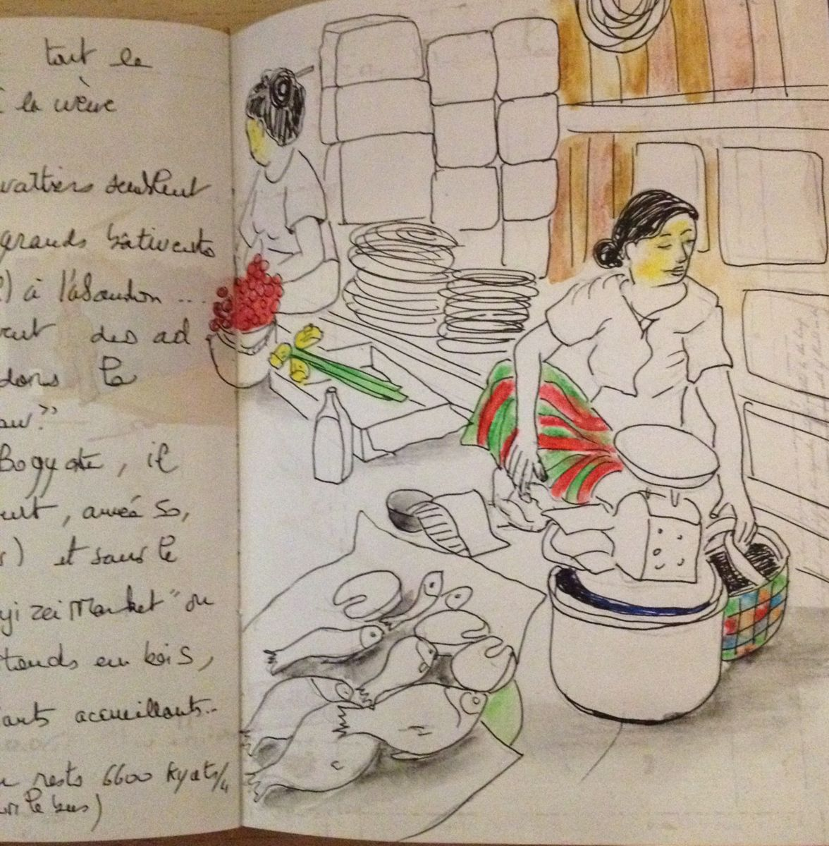 marché - Drawing ©2015 by Patricia Blanchet -