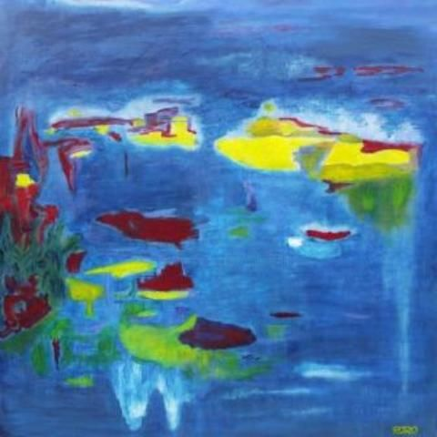 BLUE HOMAGE TO GIVERNY - Painting,  92x92 cm ©2010 by Chris RORO -                            Abstract Art, Peinture a l'huile  Art Contemporain