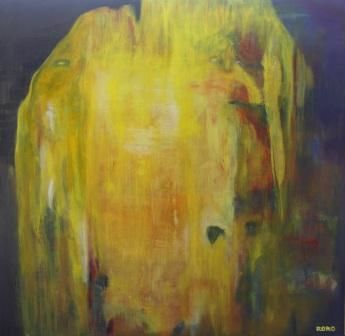 FREE YELLOW - Painting,  92x92 cm ©2010 by Chris RORO -                            Abstract Art, ART CONTEMPORAIN