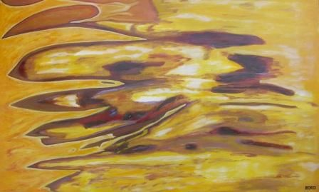 YELLOW MOTION - Painting,  152x90 cm ©2010 by Chris RORO -                            Abstract Art, ART CONTEMPORAIN