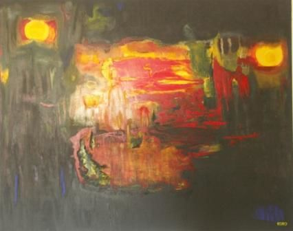 CHAOS II - Painting,  152x122 cm ©2010 by Chris RORO -                            Contemporary painting, ART CONTEMPORAIN