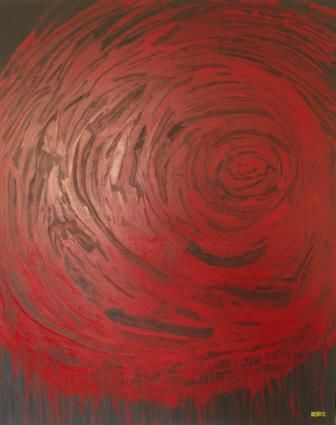 BLACK AND RED TORNADO (LA TORNADE ROUGE & NOIRE) - Painting,  152x122 cm ©2010 by Chris RORO -                            Contemporary painting, ART CONTEMPORAIN