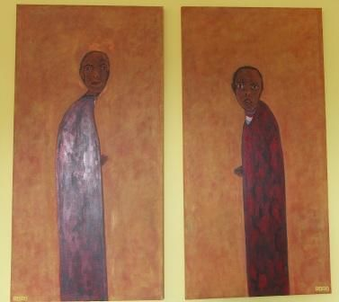 """THE TWINS – Diptych (LES JUMEAUX - diptique) - Painting,  122x61 cm ©2010 by Chris RORO -                            Portraiture, THE TWINS - Diptych - Oil on canvas 24""""X48"""" & 24""""X48"""""""