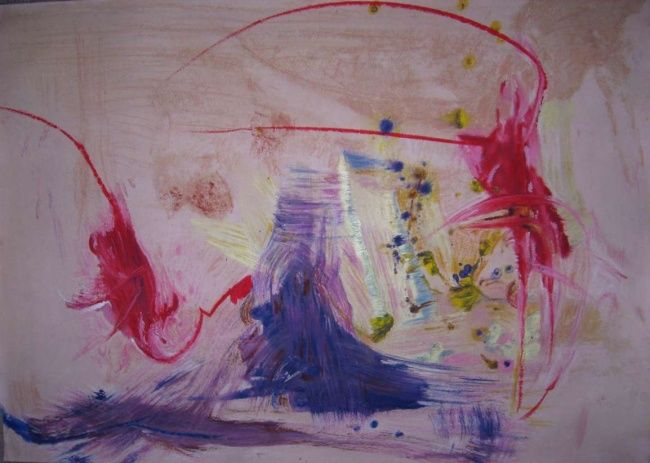 anger exploded - Painting,  46x102 cm ©2011 by Ulrich De Balbian -                            Abstract Art, abstract painting Ulrich anger exploded