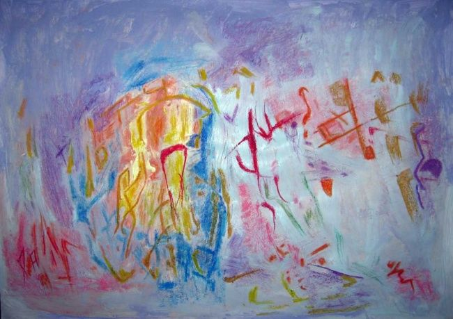 this is it or almost - Painting,  46x102 cm ©2011 by Ulrich De Balbian -                            Abstract Art, abstract painting Ulrich This is it or almost