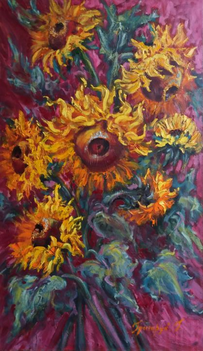 """Painting titled """"Hot and Sparkling"""" by Galina Grygoruk, Original Art, Oil Mounted on Wood Panel"""