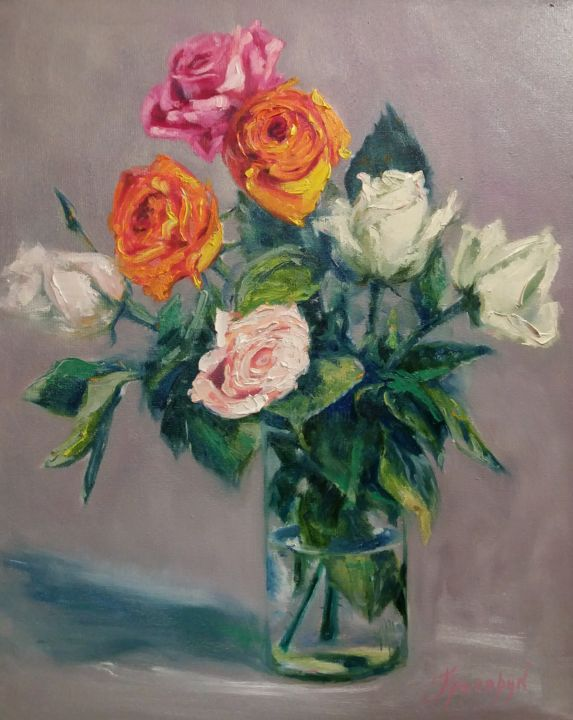 """Painting titled """"Bouquet of roses"""" by Galina Grygoruk, Original Art, Oil Mounted on Wood Panel"""