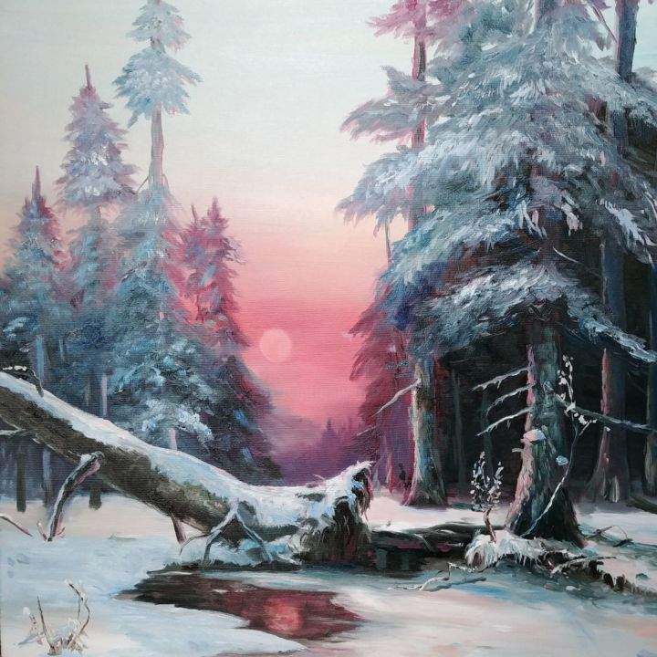 """Painting titled """"Winter forest on su…"""" by Galina Morozova, Original Art, Oil"""