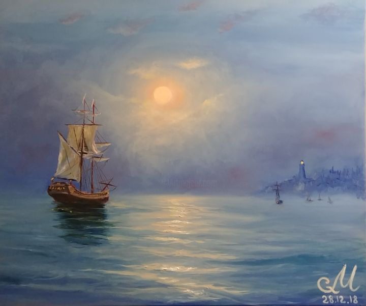"""Painting titled """"In a quiet harbor"""" by Galina Morozova, Original Art, Oil"""