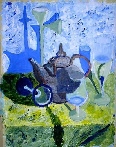 """Painting titled """"""""Glas and teapot"""""""" by Ulf Ljungberg, Original Art,"""