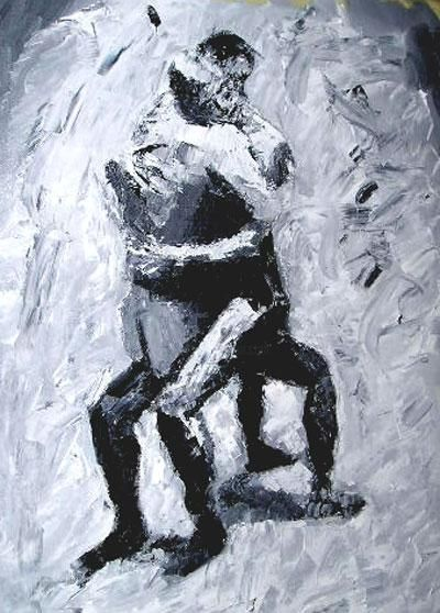 """Painting titled """"""""The lovers"""""""" by Ulf Ljungberg, Original Art,"""