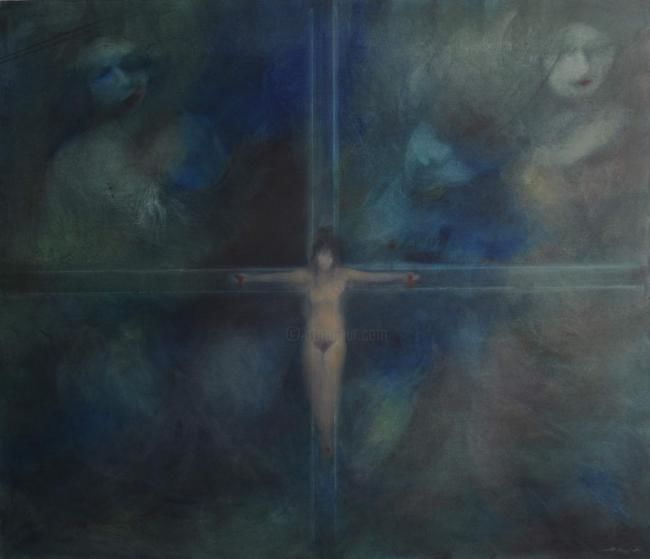 """Painting titled """"The Crucifiction of…"""" by Sultan Sara, Original Art, Oil"""