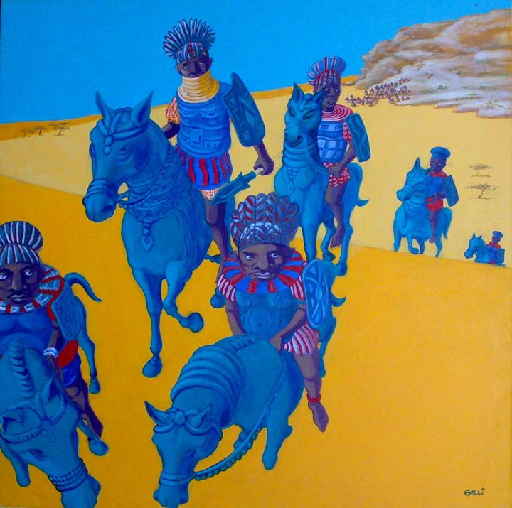 Cavalieri del Benin - Painting,  23.6x23.6x0.8 in, ©2011 by Stefano Galli -                                                                                                                                                                                                                                                                                                                                                                                                                                                                                                                                                                                                                                                                                  Conceptual Art, conceptual-art-579, Animals, Colors, Body, Culture, Places, Africa, colore, immagine, immaginazione, viaggio, esotico, sogno