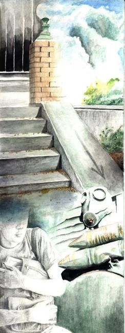"""Painting titled """"The stairs of devel…"""" by Gallus Balogh, Original Art,"""