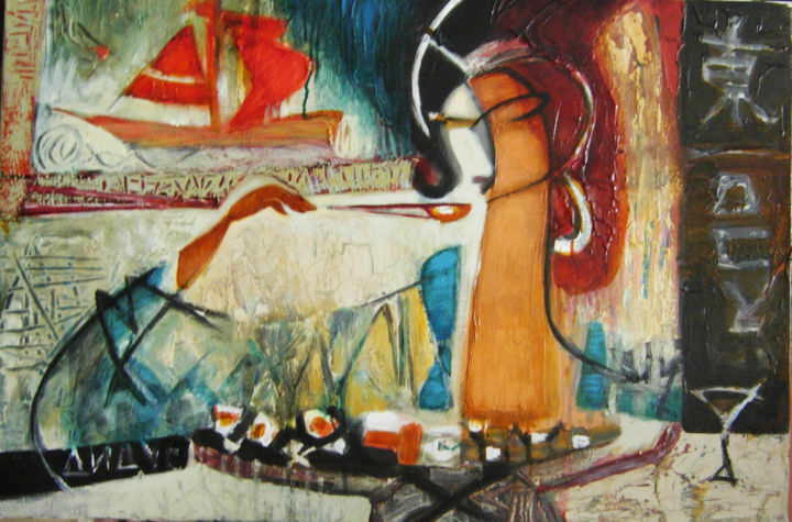 Sushi solo - Painting,  60x90 cm ©2016 by Galya Didur -                                        Contemporary painting, Canvas