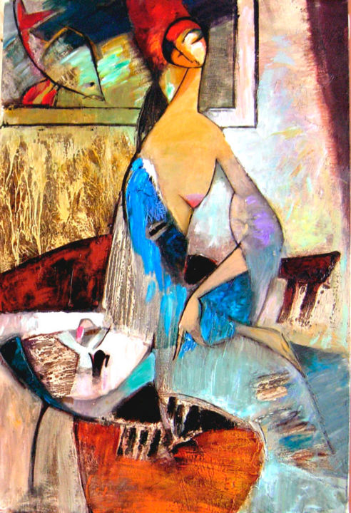 Fish - Painting,  90x60 cm ©2008 by Galya Didur -                                        Contemporary painting, Canvas