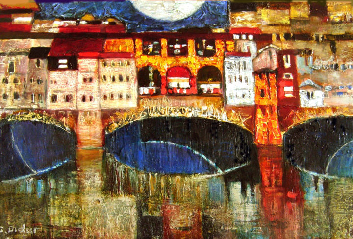 Old bridge - Painting,  60x100 cm ©2016 by Galya Didur -                                        Contemporary painting, Canvas
