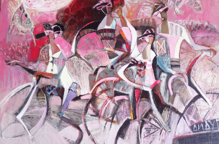 Pink glasses - Painting,  100x150 cm ©2014 by Galya Didur -                                        Contemporary painting, Canvas