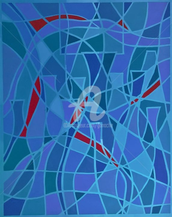 36.Les carafes bleues acrylique - Painting,  19.7x15.8x1.4 in, ©2016 by PRussi -                                                                                                                                                                          Abstract, abstract-570, Abstract Art