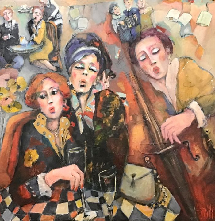 Douces retrouvailles musicales - Painting,  31.5x31.5 in, ©2020 by Nicole Garilli -                                                                                                                                                                                                                                                                  Expressionism, expressionism-591, Performing Arts, Family, Music