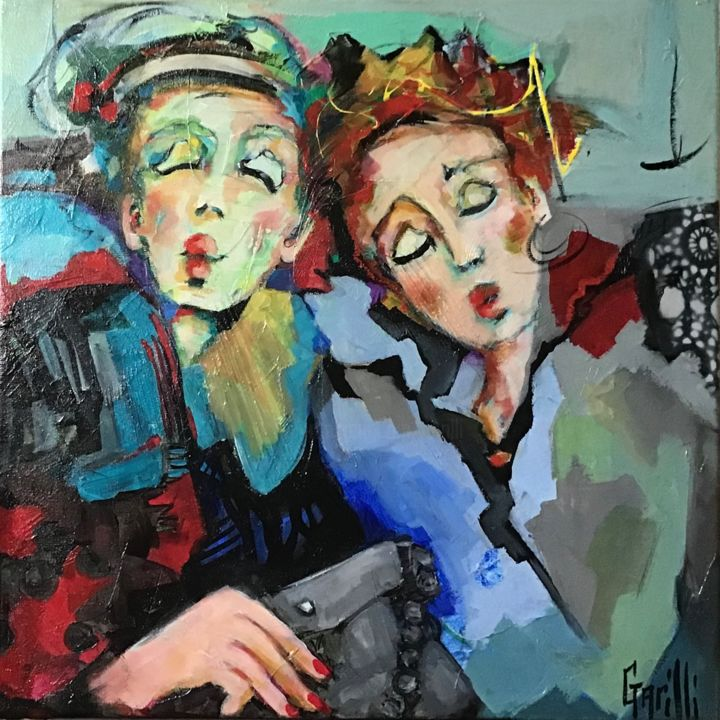 Coquetteries entre amies - Painting,  19.7x19.7 in, ©2020 by Nicole Garilli -                                                                                                                                                                                                                                                                                                                                                                                                                                                      Expressionism, expressionism-591, Love / Romance, Performing Arts, Women, amitié, costumes, fellinien, coquetteries