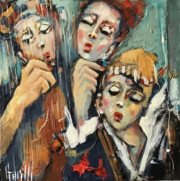 Ballade classique - Painting,  19.7x19.7 in, ©2020 by Nicole Garilli -                                                                                                                                                                                                                                                                                                                  Expressionism, expressionism-591, Performing Arts, Music, personnages, musique harmonie