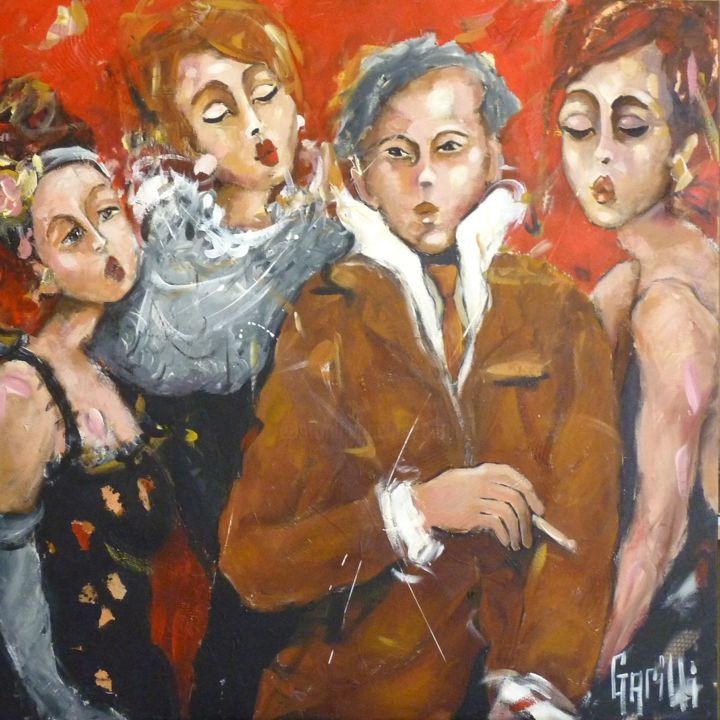 100x100-toutes-folles-de-lui - Painting,  100x100 cm ©2016 by Nicole Garilli -                                                                                Figurative Art, Expressionism, Canvas, Performing Arts, People