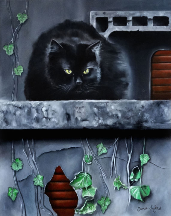 The yellow eyes of the black cat looks at you - © 2018 cat, black cat, chat, chat noir Online Artworks