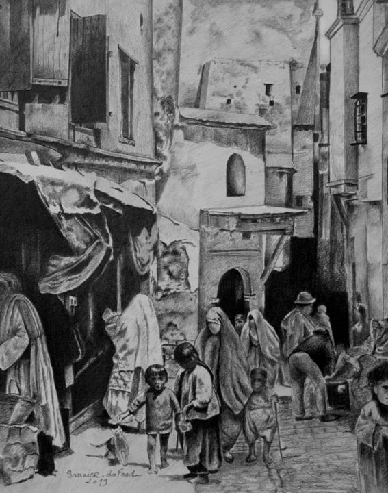 Back to the Casbah - © 2019 casbah, alger, dessin, graphite pur Online Artworks