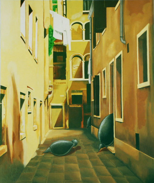 Complot - Painting,  28.4x23.6 in, ©2000 by Garnier-Lafond -                                                                                                                                                                                                                                                  World Culture, Venise, Casanova, Doges, canal