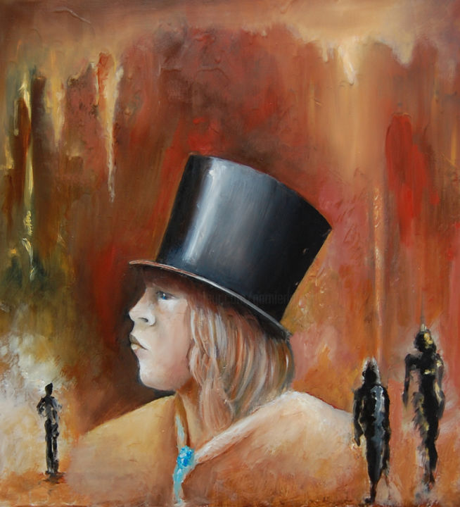 ON THE TOP OF YOUR HEAD - Painting,  21.7x18.1 in, ©2006 by Garnier-Lafond -                                                                                                                                                                                                                                              Chapeau, tête, head, gavroche, misérables