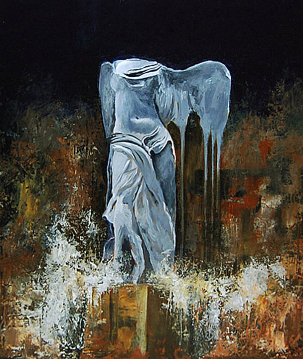 THE VICTORY BY CRYING - Painting,  24x19.7 in, ©2010 by Garnier-Lafond -                                                                                                                                                                                                                                                                                          Victoire, Samothrace, 1981, victory, criyng, pleurs