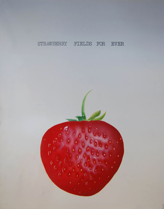 Strawberry field for ever - Painting,  23.6x21.7 in, ©1982 by Garnier-Lafond -                                                                                                                                                      fraise, rouge, beatles