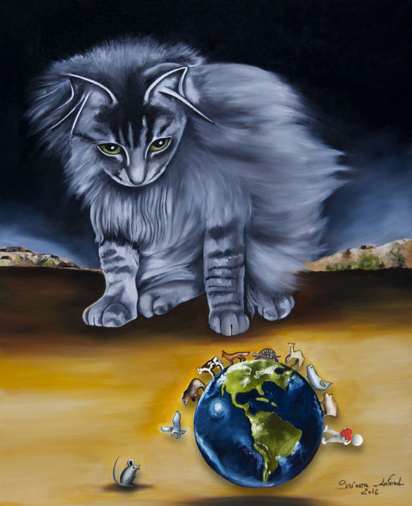 No life in cage - Painting,  74x61x2 cm ©2016 by GARNIER-LAFOND -                                                            Realism, Canvas, Animals, Chat, cat, vegan, animaux