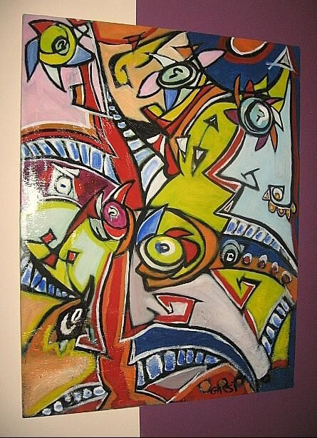 art brut garsi - Painting,  46.1x32.7 in, ©2008 by Garsi -