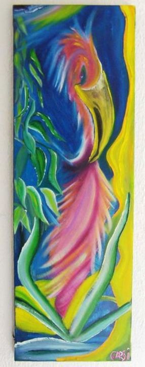 L'oiseau - Painting,  29.5x9.8 in, ©2006 by Garsi -                                                              perroquet oiseau animaux rose