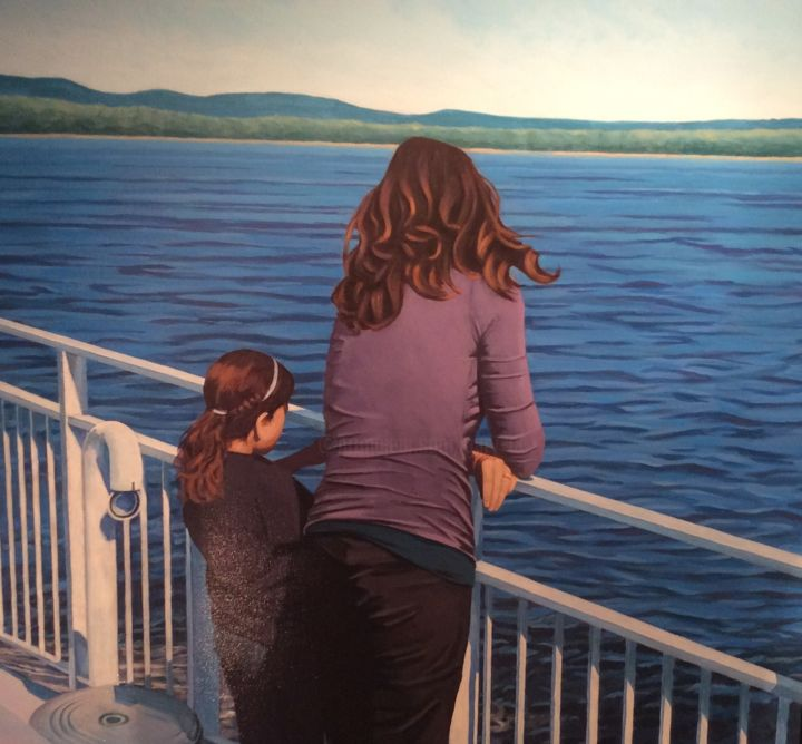 Ferry to Oka - Painting,  11.8x11.8x0.8 in, ©2017 by Gary -