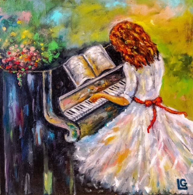 La pianiste - Painting,  19.7x19.7 in, ©2008 by Gasparian -                                                                                                                          Figurative, figurative-594
