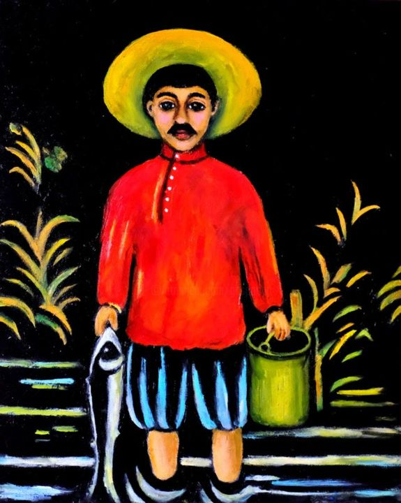 A fisher-boy (after Niko Pirosmani) - Painting,  18.1x15 in, ©2018 by Gasparian -                                                                                                                          Figurative, figurative-594