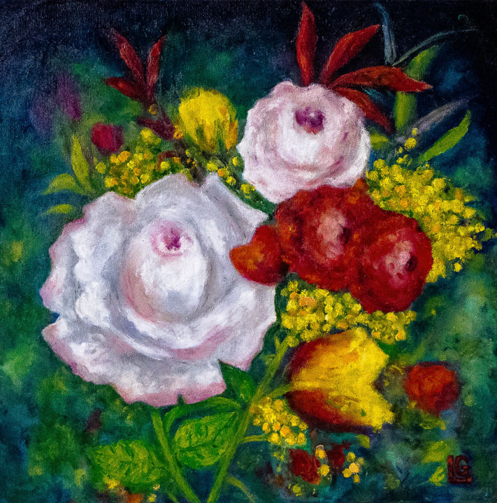 """Painting titled """"Flowers"""" by Gasparian, Original Art, Oil"""
