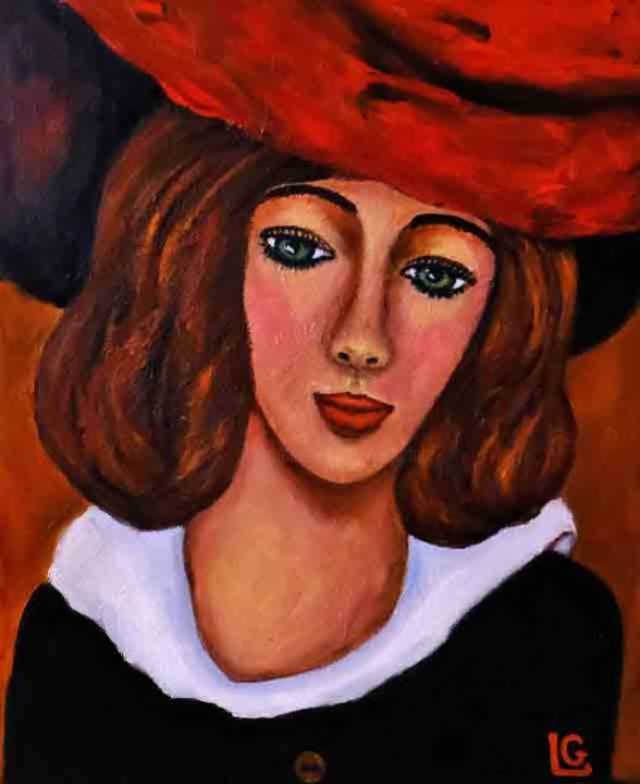 Marie Jeanne - Painting,  38x46 cm ©2017 by Gasparian -                                            Contemporary painting, Canvas, young girl romantic hat