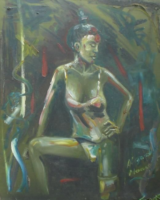 Mujer verde - Painting,  70x50 cm ©1995 by Alejandro Maass -            oleo s/madera