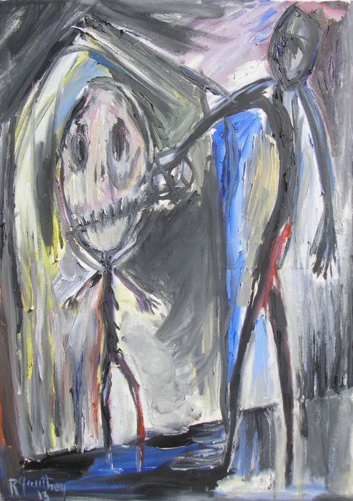 Deux personnages - Painting,  27.6x19.7 in, ©121 by Régine Gauthey -