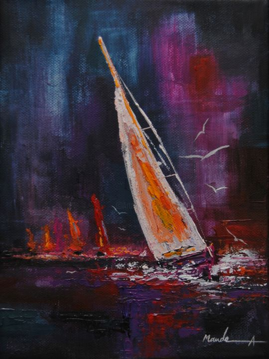 """Painting titled """"Regatta"""" by Ahmed Mande, Original Art, Acrylic Mounted on Stretcher frame"""