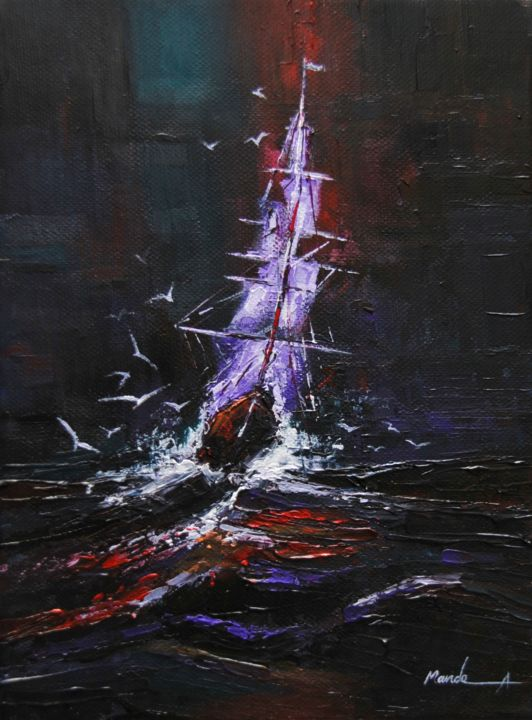 """Painting titled """"Stormy Night"""" by Ahmed Mande, Original Art, Acrylic Mounted on Stretcher frame"""