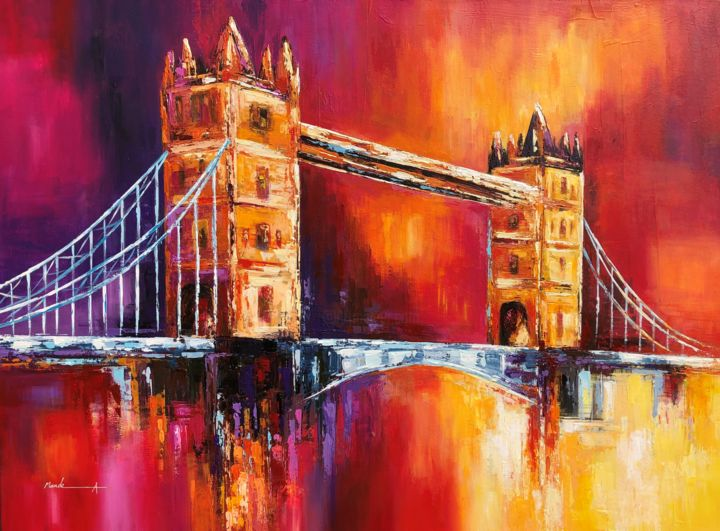 """Painting titled """"Tower Bridge London"""" by Ahmed Mande, Original Art, Acrylic Mounted on Stretcher frame"""