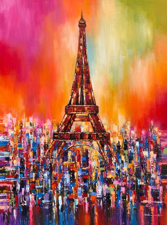 """Painting titled """"Paris Love"""" by Ahmed Mande, Original Art, Acrylic Mounted on Stretcher frame"""