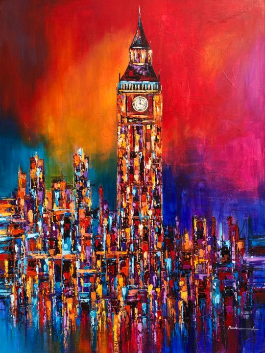 """Painting titled """"Big Ben Clock Tower…"""" by Ahmed Mande, Original Art, Acrylic Mounted on Stretcher frame"""
